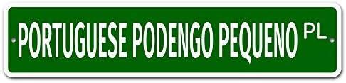 qidushop Plaque de Rue en Aluminium avec Podengo en Forme de Podengo en Forme de Portugais 10 x 45 cm