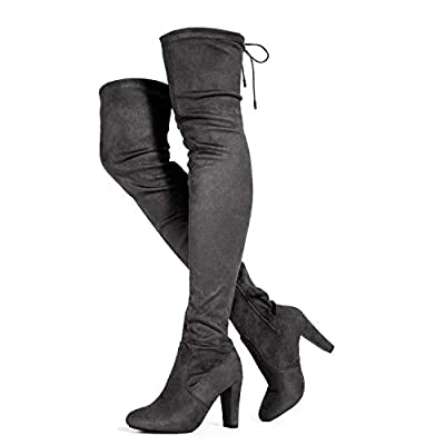 RF ROOM OF FASHION Women's Thigh High Over The Knee Block Chunky Heel Pointy Round Toe Boots Grey (7.5)