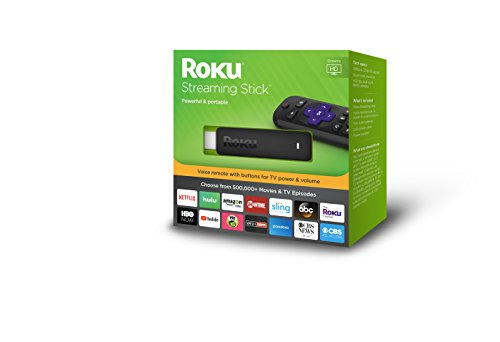 Roku Streaming Stick | Portable, power-packed player with voice remote with TV power and volume