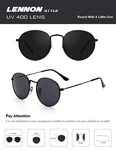 CGID métallique 7 style polarisées lunettes soleil Lennon retro de du cercle inspirées en vintage Gris rond E01 Noir HwrqZpOH