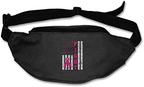 乳がん啓発ファイトがんユニセックスアウトドアファニーパックバッグベルトバッグスポーツウエストパック
