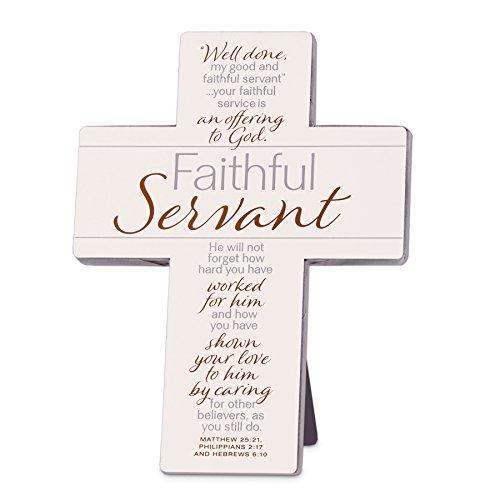 Lighthouse Christian Products Cream Faithful Servant II Metal & Wood Wall/Desktop Cross