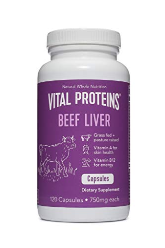 Vital Proteins Pasture-Raised, Grass-Fed Beef Liver (120 Capsules, 750mg -