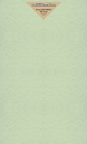(25 Green Parchment 65lb Cover Weight Paper 8.5 X 14 Inches Cardstock Colored Sheets Legal Size -Printable Old Parchment Semblance)