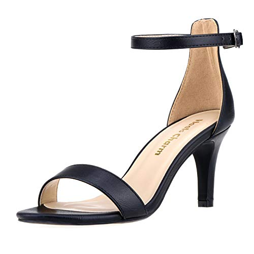 Women's Strappy Heeled Sandals Open Toe Stiletto Ankle Strap High Heel 2.76 Inch Dress Shoes Black Size 6
