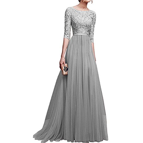 - Women's Vintage Floral Lace 3/4 Sleeves Long Cocktail Bridesmaid Maxi Dress Floor Length Retro Formal Wedding Pageant Evening Prom Party Dance Gown Plus Size V-Neck Pleated Swing Dress Grey S