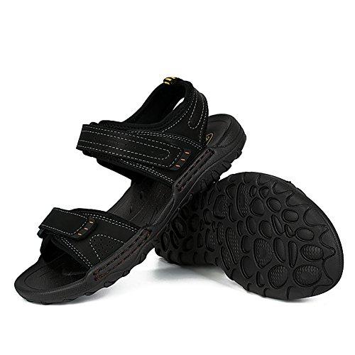 Estivi Sandali Uomo Piaggia Sportivi All'aperto Arrampicata Chiuso Trekking SK Studio Pelle Sandalo in Nero Sandalo Velcro da Chiusure AvqxERwpR