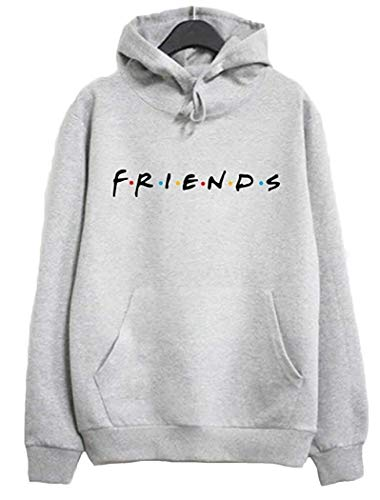Joeoy Women's Gray Casual Loose Cotton Blend Letter Print Friends Hoodie Pullover Tops-S (Best Friend Pullover Hoodies)