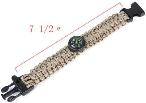 Andux Zone Paracord Survival Milit/är Armband Kunststoff-Schlie/ße Whistle Buckle CS//SH01 Kompass
