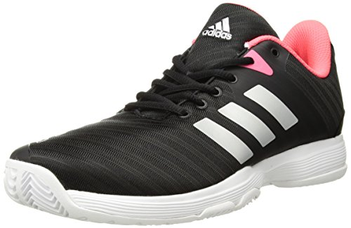adidas Women's Barricade Court Tennis Shoe, Black/Matte Silver/Flash red, 5.5 M US