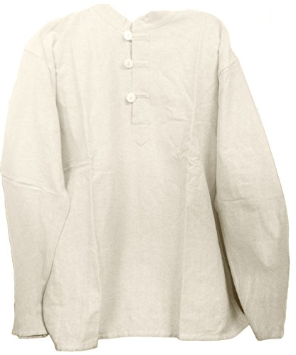 Mens Tunic Muslin Cotton Cream Colored 3-button Loop Closure, Mandarin Collar (XXL)