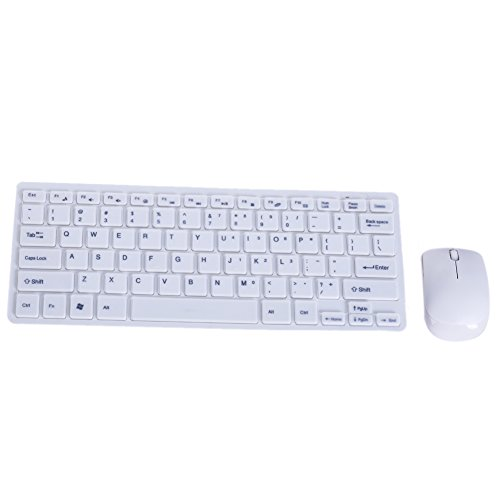 Chinatera White Ultra Thin 2.4GHz Wireless Keyboard + Cover Mouse Kit Desktop/Laptop/Mac/Android/Android Player/Android Smart ()