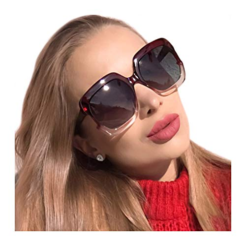 MuJaJa Classic Oversized Womens Sunglasses Polarized UV Protection Fashion Large Square Gradient Frame Design Eyewear (Wine Red with Gradient Pink)