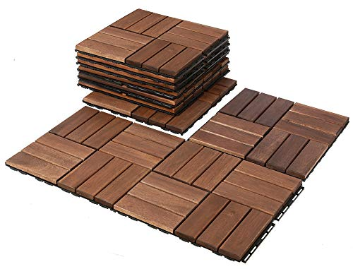 Mammoth Easy Lock Solid Acacia Interlocking Wood Deck Tiles, Suitable as Water Resistant Outdoor Patio Pavers or Indoor Composite Decking Flooring, Pack of 11 for 11 SQFT (Checker (12 Slat))