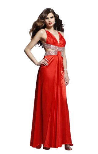 Tony Bowls Style 2820 Halter Gown, Red, 0