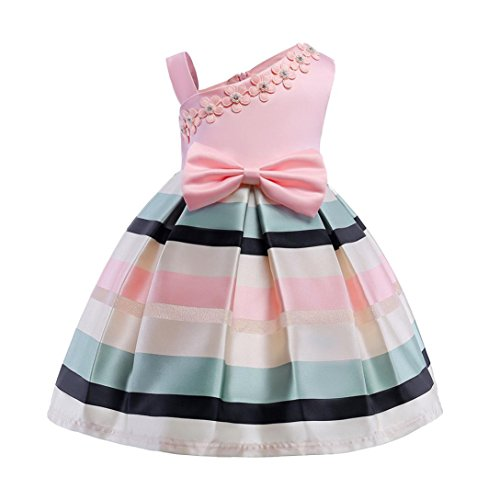 Willsa Baby Girl Bow Rainbow Striped Printing Princess Dress Birthday Party Tutu -