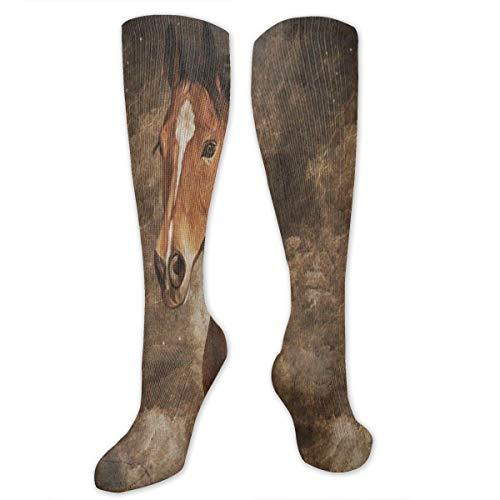 Compression Socks Vintage Horse Animal Art Girls Winter Sock Holiday Tight Stocking for Womens Men Boys ()