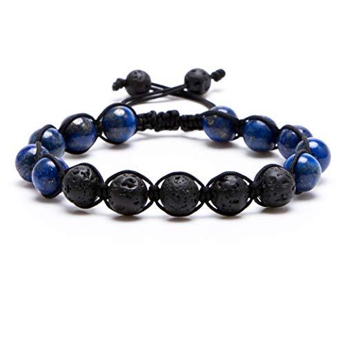 (Bivei Lava Rock Stone Aromatherapy Essential Oil Diffuser Bracelet - Braided Adjustable Natural Semi Precious Gemstone Beads Crystal Bracelet(Adjustable Lapiz Lazuli))