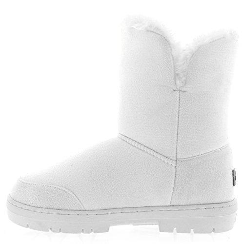 Singolo Donna Pulsante Inverno Impermeabile Pelliccia Di Completamente Stivali Foderato Neve Bianco SwCxdwZq1