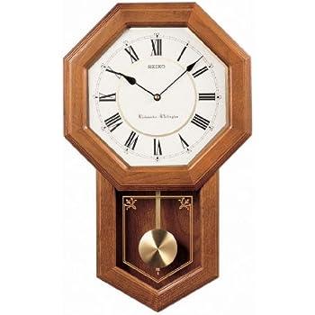 Seiko Wall Pendulum Schoolhouse Clock Dark Brown Solid Oak Case