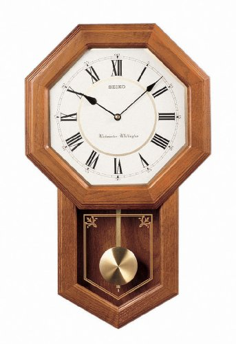 (Seiko Wall Pendulum Schoolhouse Clock Dark Brown Solid Oak Case)