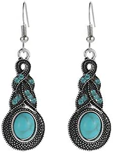 C- Conjunto de Pendientes de Collar de Mujer - Patrón de Moda Vintage Pendientes de Turquesa Azul con Incrustaciones de Cristal Pendiente de Bohemia Caliente de la Personalidad,A