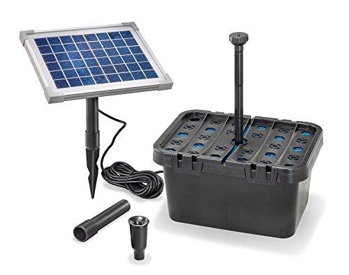 Juego de filtros solares para estanque (470 l/h, potencia de extraccion 5 W, modulo solar, juego completo de hasta 1000 l, estanque de jardin 101065)