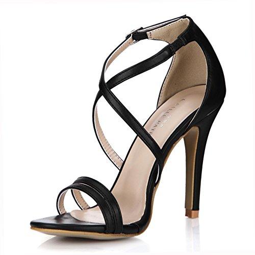 Best 4U? Women's Summer Sandals Premium PU Straps Pumps One Buckle Zipper 10CM High Heels Rubber Sole Wedding Shoes Black CGW6qKdSBn