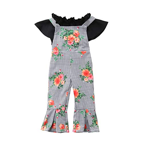 (Baby Girls Off Shoulder Pleated Top Ruffle Tube Floral Lattice Backless Bib Pants Clothes Outfitfor 0-5 Years (6-12 Months, Black&Grey))