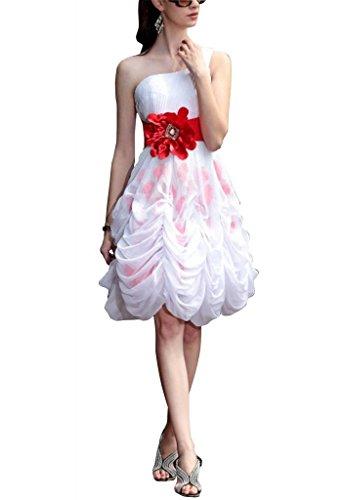 BRIDE Schultergurt Ein Abendkleid Blumen mit Chiffon Elfenbein Kurz GEORGE handgemachten RqPUw