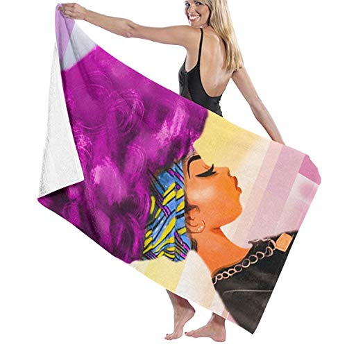 Yujinhhh African Women with Purple Hair Beach,Spa Gym Bath Wrap Super Absorbent Wraps Soft Oversized Size Bath Towel