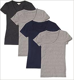 15fbae117 4 Pack Zenana Women's Basic V-Neck T-Shirts (1X, Heather Grey, Heather  Grey, Charcoal, Navy) Apparel