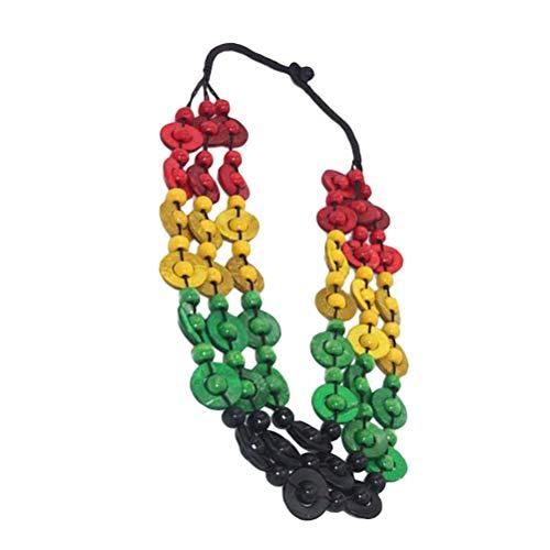 Amosfun Retro Bohemia Style Necklace Coconut Shell Handmade Wooden Beads Beach Pendant