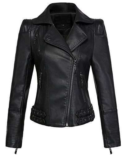 chouyatou Women's Asymmetric Zip-Up Motorcycle Cropped Pu Leather Biker Jackets (Small, Black)