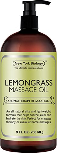 (Lemongrass Massage Oil - 100% All Natural Ingredients - Lemongrass Sensual Body Oil Made with Essential Oils - Great For Muscle Relaxation, Stiff Joints & Deep Tissue - 9 FL Oz)