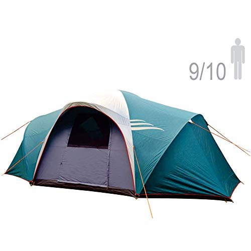 (NTK LARAMI GT Tent up to 10 Persons, 10FT by 18FT by 6.9FT Height, 3 Season Camping 100% Waterproof 2500mm, Best Seller Deluxe Family Extra Large, Easy Color-Coded Assembly. )