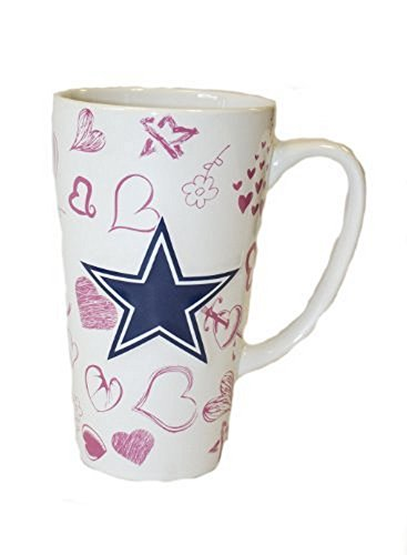NFL Licensed Dallas Cowboys 16 Oz Sculpted Latte Mug - Heart Sculpted