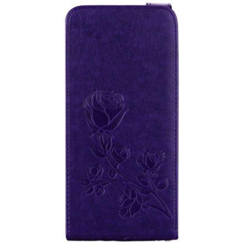 Carcasas y fundas Móviles, Para el caso de la galaxia S8 de Samsung, la caja de cuero vertical grabada en relieve del estampado de plores de Rose con la ranura para tarjeta para Samsung Galaxy S8 ( Co Purple