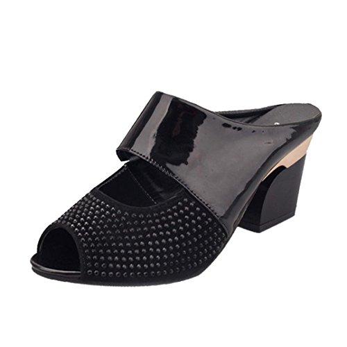 Sandalias De Tacón Grueso, Sandalias De Tacón Alto Para Mujer Tenworld Sandalias De Tacón Negro