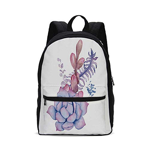 Succulent Fashion Canvas printed Backpack,Exotic Corsage Wedding Bouquet Design Bohemian Retro Nature Watercolors Decorative for school,One_Size ()