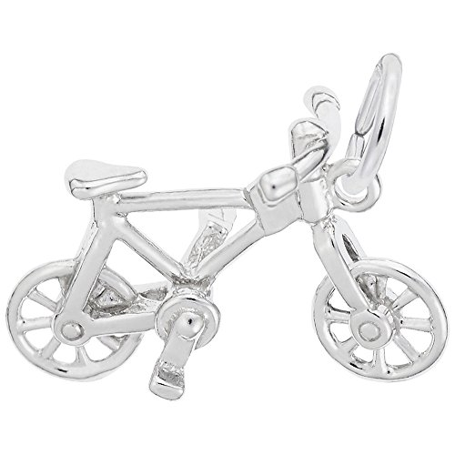 Bicycle Charm In 14k White Gold, Charms for Bracelets and Necklaces