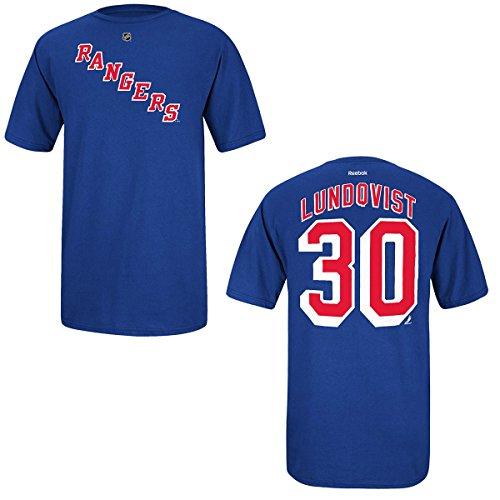 Reebok Henrik Lundqvist New York Rangers Jersey Name and Number T-Shirt Medium