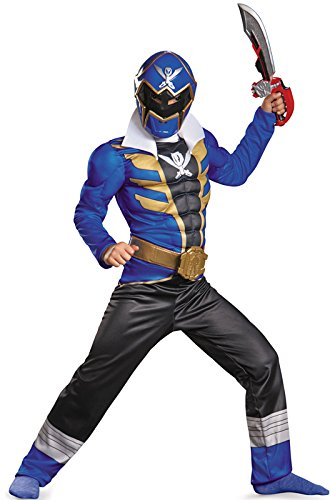 [Disguise Saban Super MegaForce Power Rangers Blue Ranger Classic Muscle Boys Costume, Large/10-12] (Power Rangers Megaforce Halloween)