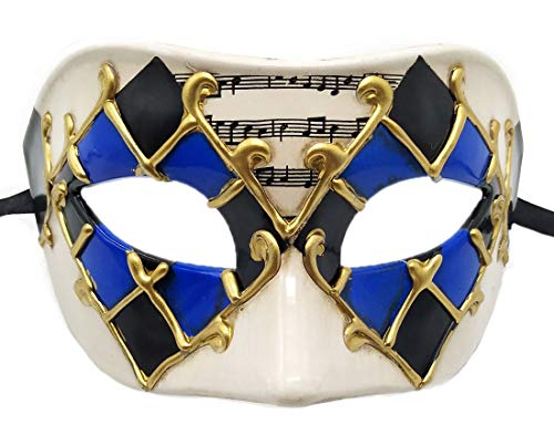 Biruil Men's Masquerade Mask Muscial Vintage Party Masque Cosplay Dress Costume Eyemask (Checkered -
