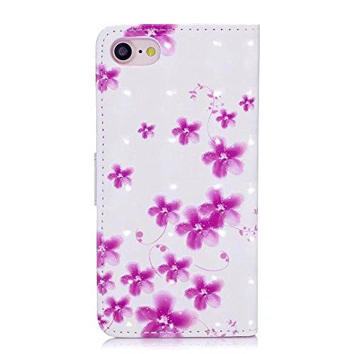 COWX iPhone 8 Hülle Tasche PU Lederhülle für Apple iPhone 8 Tasche Brieftasche Cherry blossoms 9SRi21FA3