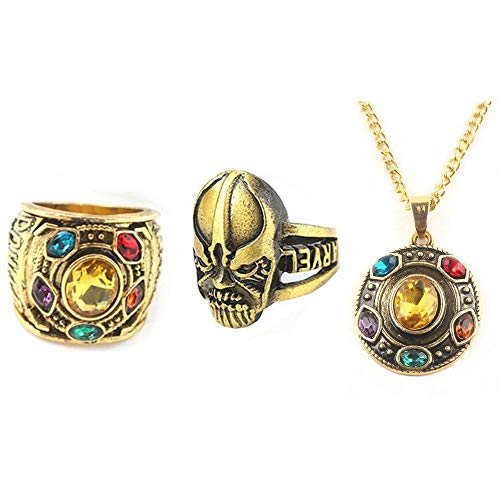 Necklace Cosplay Accessory - 3Pcs Avengers Infinity War Thanos Gauntlet Metal Ring Accessory with Cosplay Necklace Pendants Endgame (8)