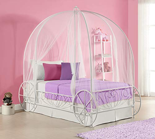 DHP Metal Carriage Bed, Fairy Tale Bed Frame, Shabby-Chic Style, Twin, White