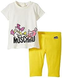 Moschino Graphic T-Shirt and Legging Set, White/Yellow, 3/6 Months