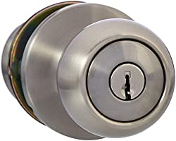 AmazonBasics Exterior Door Knob With Lock, Coastal, Satin Nickel