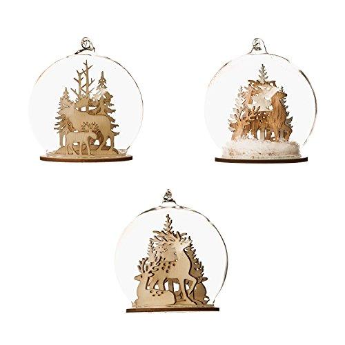 Set of 3 Woodland Dome Christmas Ornaments